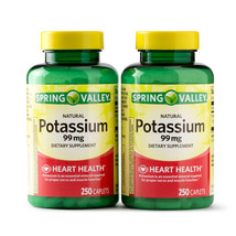 Spring Valley Potassium 99 mg, Twin Pack (250 caplets each bottle) - $15.88