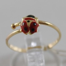 SOLID 18K YELLOW GOLD RING WITH GLAZED LADYBIRD LADYBUG FOR GIRL, MADE IN ITALY image 1