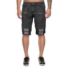 LR Scoop Men's Moto Quilted Distressed Skinny Jean Denim Shorts DZM-80 (36, Blac