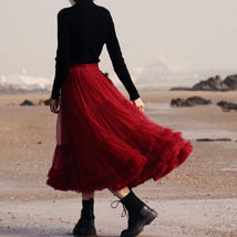 Burgundy Midi Puffy Tutu Skirt Burgundy High Waisted Layered Tulle Skirt Plus  image 9