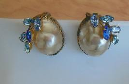 Schiaparelli Signed Pearl Aquamarine & Blue Stone Earrings Estate Sale Find - $142.07
