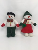Mr & Mrs Snowman Christmas Stuffed Fabric Holiday Decor Carrot Nose Xmas... - £17.63 GBP