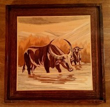 Vintage Inlaid Wooden Buffalo Picture Framed - $12.22
