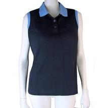 New RALPH LAUREN Top M Sleeveless Cotton Knit Navy Blue Polo Casual Golf... - $10.94