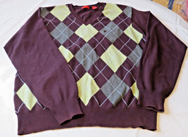 Men's Izod sweater pull over v neck  shirt XL cotton wine grey GUC pre o... - $19.30