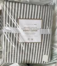 Pottery Barn Teen Washed Ruffle Stripe Duvet Cover Gray Twin 1 Standard ... - $149.00
