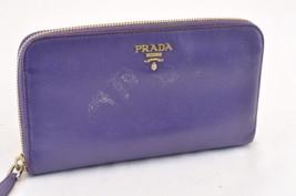 PRADA Leather Long Wallet Purple Auth 5921 - $99.00