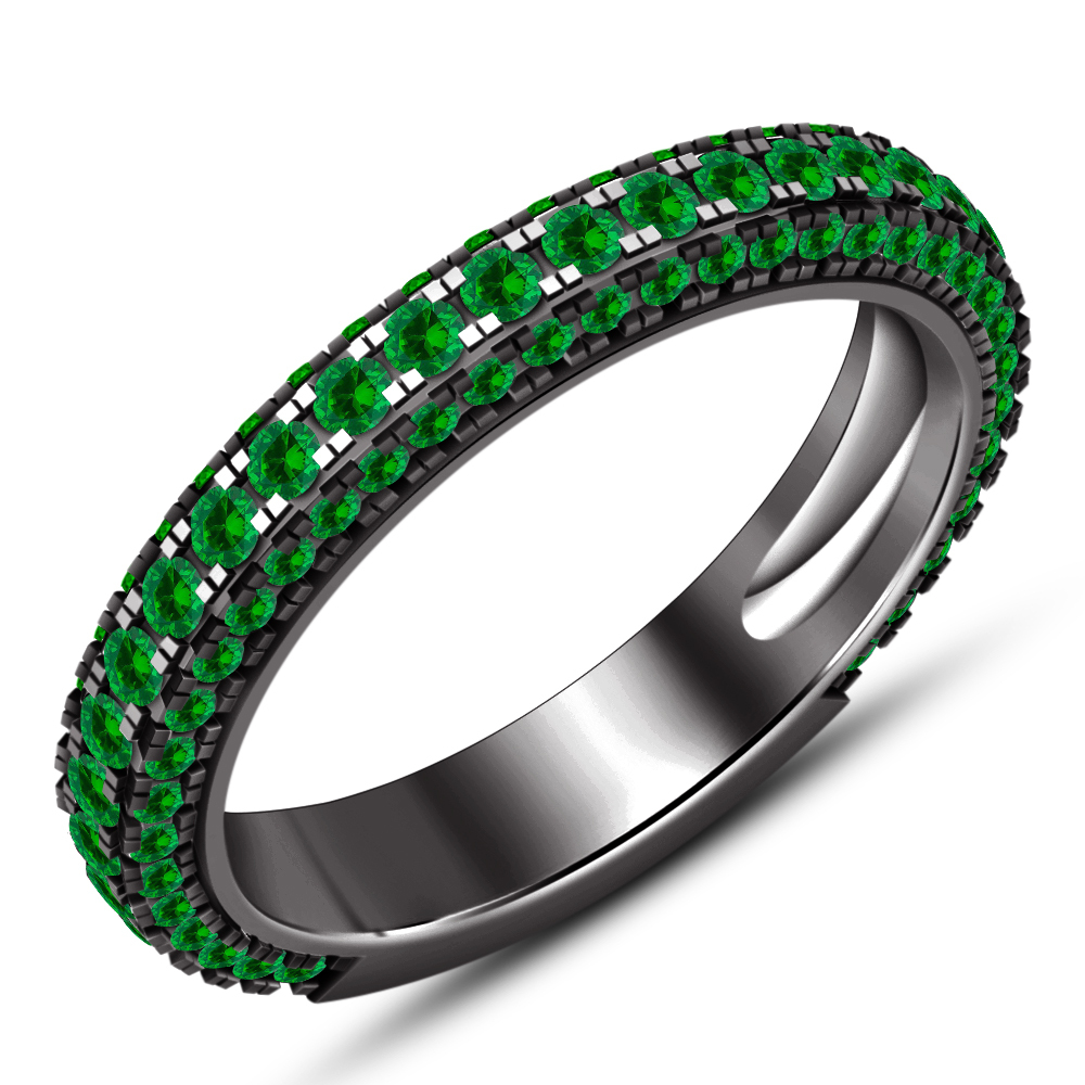 14k Black Gold Plated 925 Silver Round Green Sapphire Bridal Engagement Ring Set