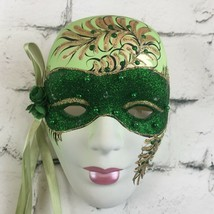 "Impulse Unique Lady Face Mask Green & Gold Glittered  6"" x 7.5"" Wall Dec... - $9.85"