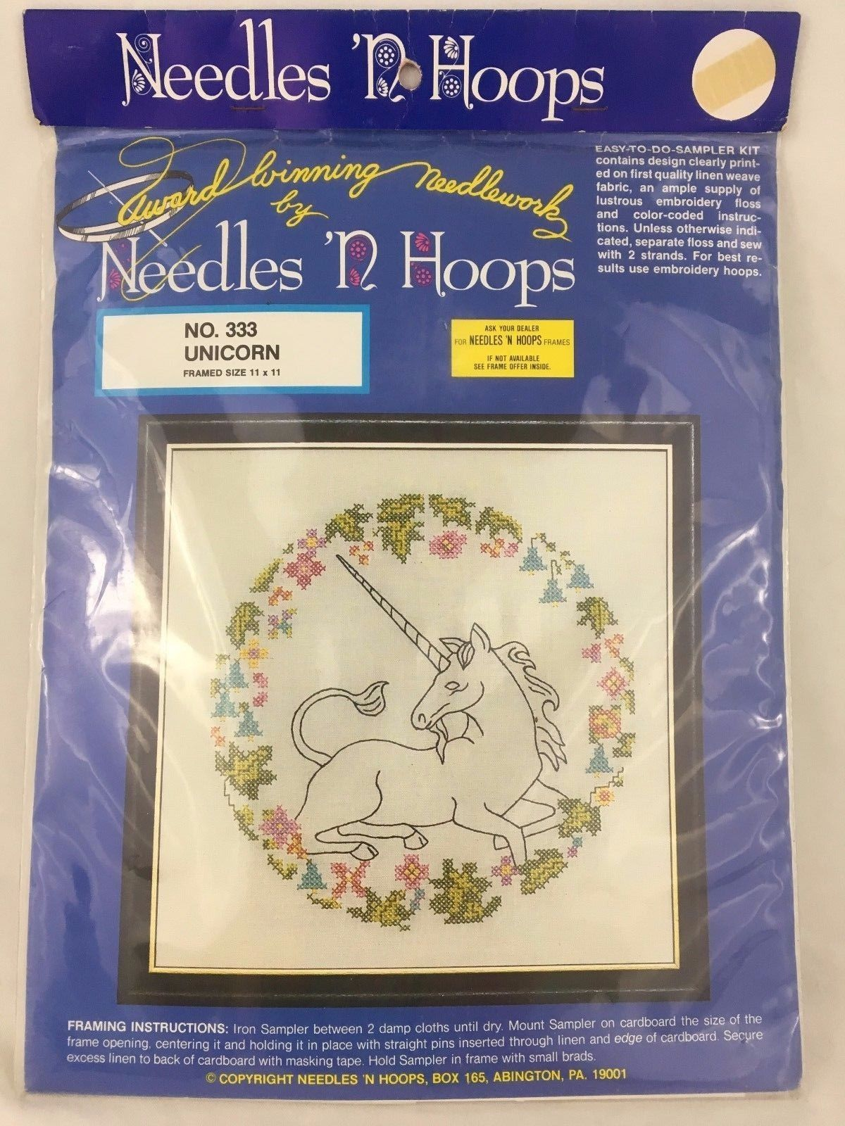 Needles n Hoops Unicorn 333 Stamped Cross and 50 similar items