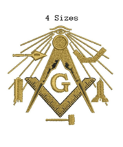 Masonic Compass with Symbols digitized filled embroidery design Digital ... - $6.99
