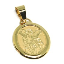 Pendant Medal Yellow Gold 750 18k, Saint Michael Archangel, Oval - $111.93