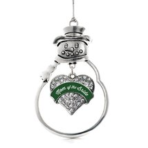 Inspired Silver Forest Green Mom of Bride Pave Heart Snowman Holiday Decoration  - $14.69