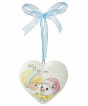 My Mom Precious Moments Ornament Christmas Snowman Snowflake Heart Girl New - $10.88