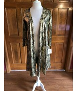 LuLaRoe Elegant Sarah Black & Gold Metallic Cardigan Duster Small - $24.75