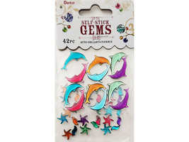 Darice Self-Stick Gem Stickers, Dolphins and Starfish #1210-38