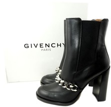 $1475 Givenchy Black Leather Chain-Strap Leather Chelsea Booties  40.5 B... - $459.00