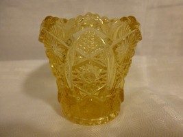 vintage Imperial Glass Yellow TOOTHPICK Holder daisy & button pattern - $29.99