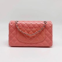 AUTHENTIC Chanel PINK PATENT QUILTED LEATHER MEDIUM Classic Double Flap Bag SHW image 3