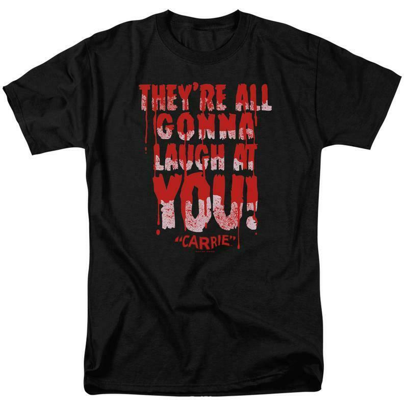 Carrie T-shirt Laugh At You 1970's horror movie retro graphic tee MGM321