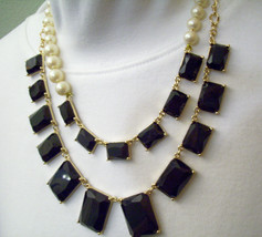 Pearls Jet Black Rhinestone Dramatic 2 Strand Necklace Chain Asymmetrica... - $12.38