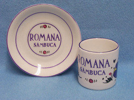 Romana Sambuca Cup Demi Tasse Tiny 2 inch Mug and Saucer White with Purple - $7.91