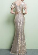 BLACK Sleeved High Waist Maxi Sequin Dress Floor Length Sequin Wedding Dresses image 13