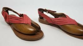 NINE WEST Flashback Coral Pink Orange Summer Flat Thong Toe Sandal Women Size 12 - $33.65