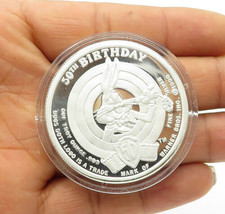 925 Sterling Silver - Vintage 50th Birthday Loony Toons Medallion Coin -... - $107.66