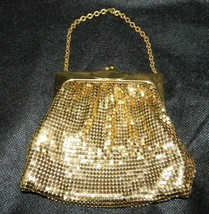 Vintage WHITING & DAVIS Gold Metal Mesh Evening Bag Coin Purse I - $35.64