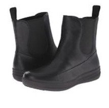 New FitFlop Leather FF LUX Chelsea Black Pull On Ankle Boots Sz us 8 - £58.30 GBP