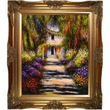 "Garden Path at Giverny OIL PAINTING ON CANVAS ART 32""x28"" By Cloude Mone... - $483.99"