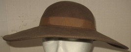 Vtg Womens Madcaps 100% Wool Lancaster Felt USA Taupe Brown with Ribbon ... - $18.81