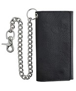 RFID Blocking Mens Tri-fold Long Style Cowhide Leather Steel Chain Walle... - $102.99+