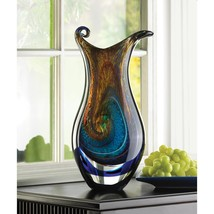 Swirls of Color Galaxy Art Glass Vase Tabletop Centerpiece  - $88.95