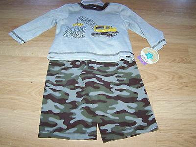 Size 12 Months 2 Piece Pajamas Set Camo Camouflage Pants Dozer Loader Vehicle