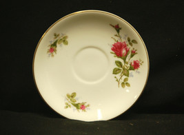 Old Vintage Moss Rose by Sango Saucer Japan White w Pink Roses & Gold Trim - $8.90