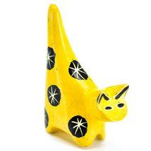 Tabaka Chigware Hand Carved Kisii Soapstone Tiny Miniature Yellow Cat Figurine image 4