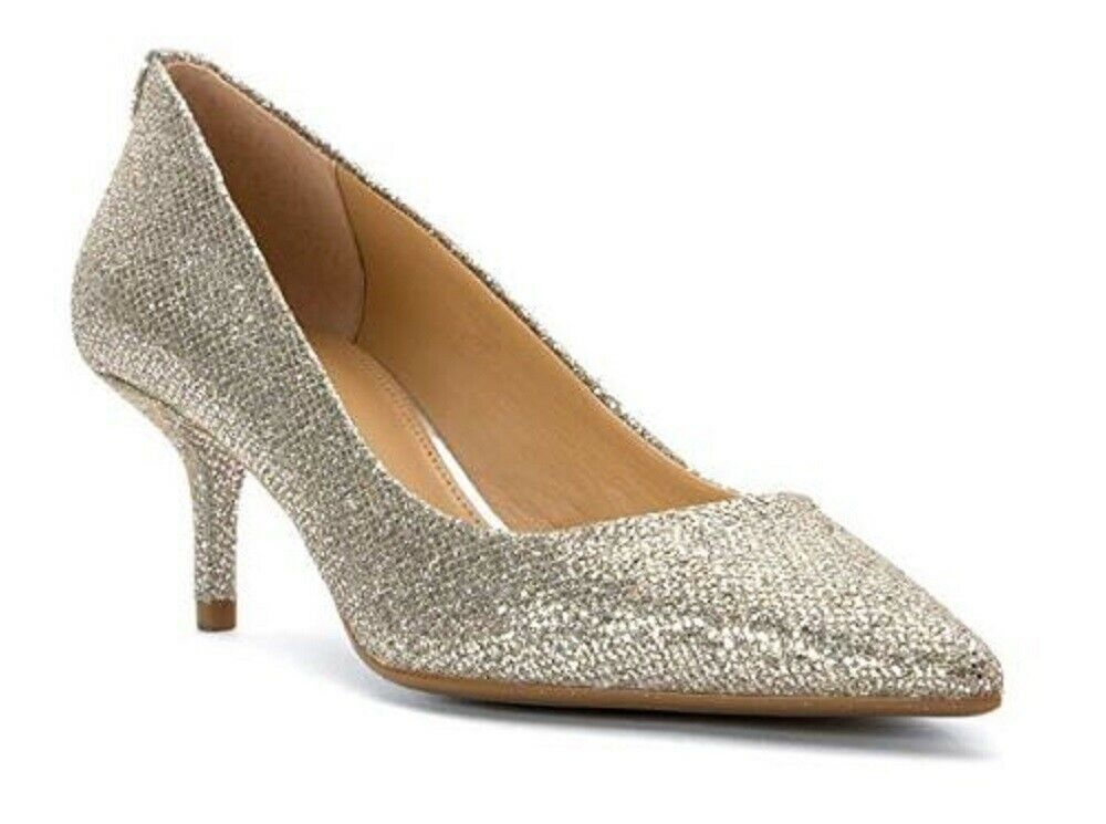 Primary image for Womens Shoes Michael Kors MK Mid Flex Kitten Pump Glitter Silver Mirror Metallic