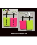Neon Luggage Travel Tags Set of Two Pink & Yellow - $6.99