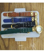 JACLYN SMITH LADIES WATCH GOLD W/ MULTI STRAP SET GREEN BLACK BLUE BROWN... - $14.69