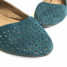 Lucky Brand Laser Cutout Triangle Perforated Teal Ballet Flats Size 6.5 - $24.49