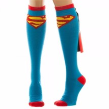 DC Comics Superman Logo Blue Knee High Socks with Shiny Cape - $6.95