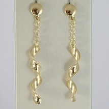 SOLID 18K YELLOW GOLD LONG PENDANT EARRINGS WITH WORKED SPIRAL & ROLO CHAIN  image 1