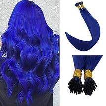 Full Shine Remy Human Hair 16 Inch Keratin I Tip Human Hair Extensions Blue Colo