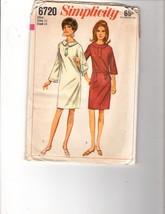 1966 Simplicity Pattern Size 14 VTG Mod Slim Dress Front Tab Button Trim - $11.88
