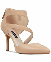 Nine West Women Asymmetrical Strappy Sandals Forty Size US 7.5M Natural Leather - $49.54