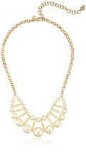 "David Aubrey Hadrien Gold Plated Double Row Pearl 18"" Statement Necklace NWT"