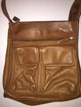 Fossil Brown Leather Shoulder Messenger Bag 75082 Vintage Front Flap - $40.58