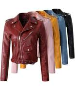 Casual PU Leather Buckle Short Jackets For Women - $56.00